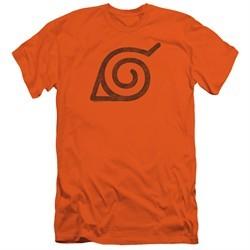 Naruto Shippuden Slim Fit Shirt Distressed Leaves Symbol Orange T-Shirt