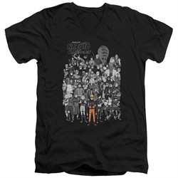 Naruto Shippuden Slim Fit V-Neck Shirt Characters Black T-Shirt