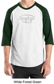Mens Yoga T-shirt ? Namaste Meditation 3/4 Sleeve Raglan Shirt