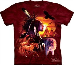 Native American Shirt Tie Dye Indian Collage T-shirt Adult Tee