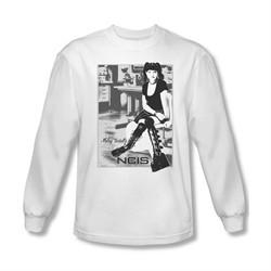 NCIS Shirt Abby Sitting Long Sleeve White Tee T-Shirt
