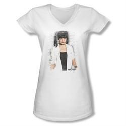 NCIS Shirt Juniors V Neck Abby Skulls White T-Shirt