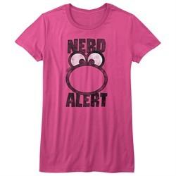 Nerds Candy Shirt Juniors Big Face Alert Hot Pink T-Shirt