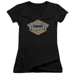 Night Ranger Juniors V Neck Shirt Logo Black T-Shirt