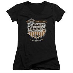 Night Ranger Juniors V Neck Shirt Motorin Black T-Shirt
