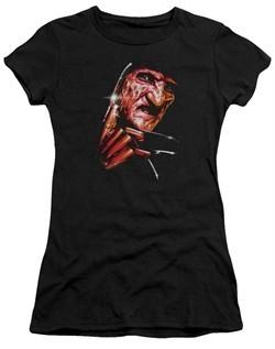 Nightmare On Elm Street Juniors Shirt Freddy's Face Black T-Shirt