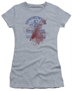 Nightmare On Elm Street Juniors Shirt Springwood High Victim Heather Grey T-Shirt