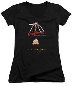 Nightmare On Elm Street Juniors V Neck Shirt Alternate Poster Black T-Shirt