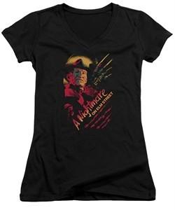 Nightmare On Elm Street Juniors V Neck Shirt Freddy Claws Black T-Shirt