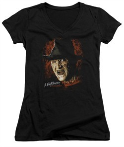 Nightmare On Elm Street Juniors V Neck Shirt Freddy Krueger Black T-Shirt