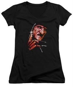 Nightmare On Elm Street Juniors V Neck Shirt Freddy's Face Black T-Shirt