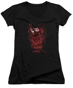 Nightmare On Elm Street Juniors V Neck Shirt One Two Freddys Coming For You Black T-Shirt
