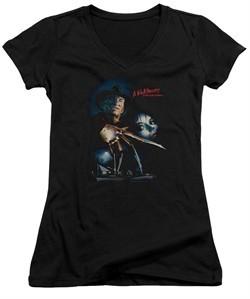 Nightmare On Elm Street Juniors V Neck Shirt Poster Black T-Shirt