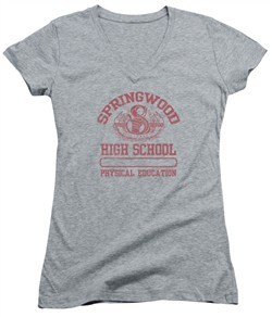 Nightmare On Elm Street Juniors V Neck Shirt Springwood High Heather Grey T-Shirt