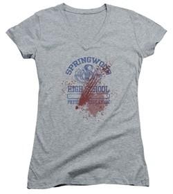 Nightmare On Elm Street Juniors V Neck Shirt Springwood High Victim Heather Grey T-Shirt