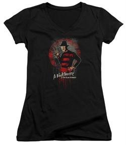 Nightmare On Elm Street Juniors V Neck Shirt Springwood Slasher Black T-Shirt