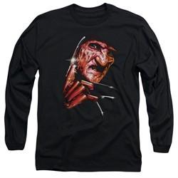 Nightmare On Elm Street Long Sleeve Shirt Freddy's Face Black Tee T-Shirt