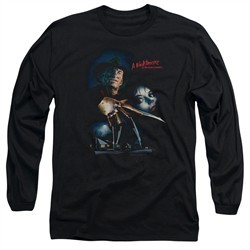 Nightmare On Elm Street Long Sleeve Shirt Poster Black Tee T-Shirt