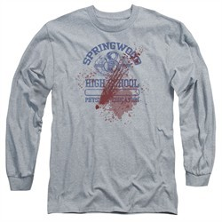 Nightmare On Elm Street Long Sleeve Shirt Springwood High Victim Heather Grey Tee T-Shirt