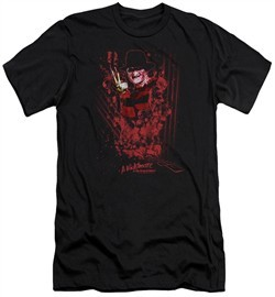 Nightmare On Elm Street Slim Fit Shirt One Two Freddys Coming For You Black T-Shirt