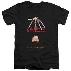 Nightmare On Elm Street Slim Fit V-Neck Shirt Alternate Poster Black T-Shirt