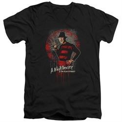 Nightmare On Elm Street Slim Fit V-Neck Shirt Springwood Slasher Black T-Shirt