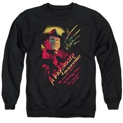 Nightmare On Elm Street Sweatshirt Freddy Claws Adult Black Sweat Shirt
