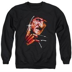 Nightmare On Elm Street Sweatshirt Freddy's Face Adult Black Sweat Shirt