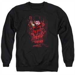 Nightmare On Elm Street Sweatshirt One Two Freddys Coming For You Adult Black Sweat Shirt