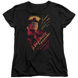 Nightmare On Elm Street Womens Shirt Freddy Claws Black T-Shirt