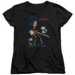 Nightmare On Elm Street Womens Shirt Poster Black T-Shirt