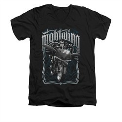 Nightwing DC Comics Shirt Biker Slim Fit V Neck Black Tee T-Shirt