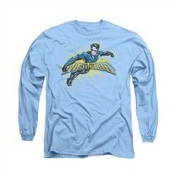 Nightwing DC Comics Shirt Burst Long Sleeve Carolina Blue Tee T-Shirt