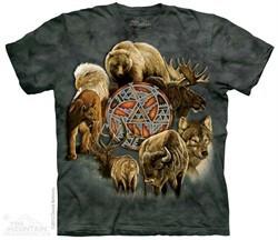 North American Animal Spirit Shirt Tie Dye Adult T-Shirt Tee
