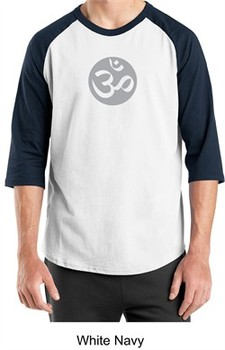 Mens Yoga T-shirt ? Om Symbol Meditation 3/4 Sleeve Raglan Shirt