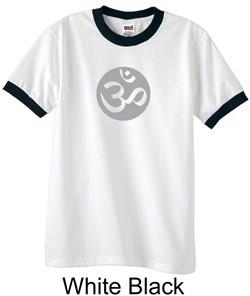 Mens Yoga T-shirt ? Om Symbol Meditation Ringer Shirt