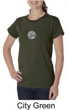Ladies Yoga T-shirt ? Om Symbol Small Print Organic Tee