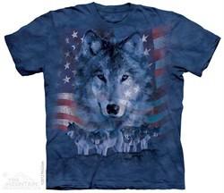 Patriotic Wolf Shirt Tie Dye Adult T-Shirt Tee