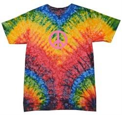 Peace Tie Dye T-shirt Pink Peace Woodstock Tie Dye Tee