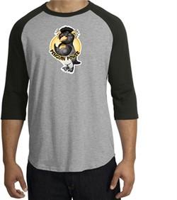 Penguin Power Shirt Athletic Gym Workout Raglan Tee Heather Grey/Black