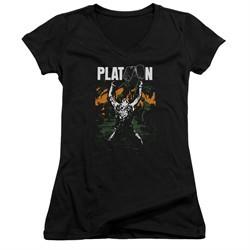 Platoon Juniors V Neck Shirt Graphic Black T-Shirt