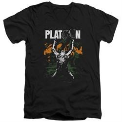 Platoon Slim Fit V-Neck Shirt Graphic Black T-Shirt