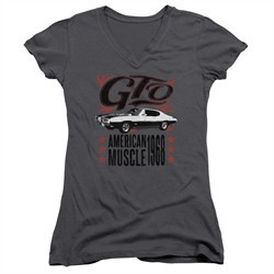 Pontiac Juniors V Neck Shirt 68 GTO Charcoal T-Shirt