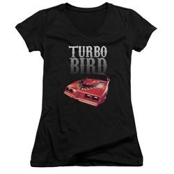 Pontiac Juniors V Neck Shirt Turbo Bird Black T-Shirt