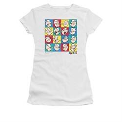 Popeye Shirt Color Block Juniors White Tee T-Shirt
