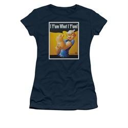 Popeye Shirt I Can Do It Juniors Navy Blue Tee T-Shirt