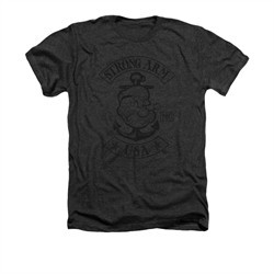 Popeye Shirt Strong Arm MC Adult Heather Charcoal Tee T-Shirt