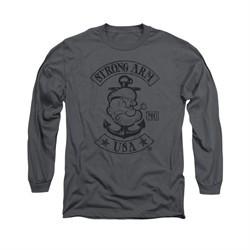 Popeye Shirt Strong Arm MC Long Sleeve Charcoal Tee T-Shirt