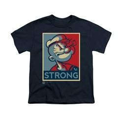 Popeye Shirt Strong Kids Navy Youth Tee T-Shirt