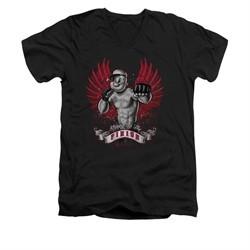 Popeye Shirt Undefeated Slim Fit V Neck Black Tee T-Shirt